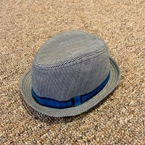 Pin stripped blue fedora
